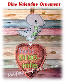 In The Hoop Dino Valentine Ornament Embroidery Machine Design