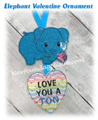 In The Hoop Elephant Valentine Ornament Embroidery Machine Design