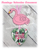 In The Hoop Flamingo Valentine Ornament Embroidery Machine Design