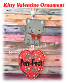 In The Hoop Kitty Valentine Ornament Embroidery Machine Design