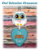 In The Hoop Owl Valentine Ornament Embroidery Machine Design