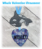 In The Hoop Whale Valentine Ornament Embroidery Machine Design