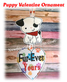 In The Hoop Puppy Valentine Ornament Embroidery Machine Design