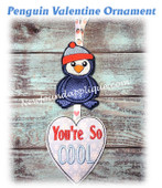 In The Hoop Penguin Valentine Ornament Embroidery Machine Design