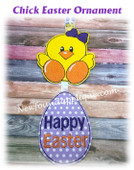 In The Hoop Chick Easter Ornament Embroidery Machine Design
