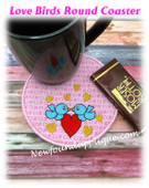In The Hoop Love Birds Coaster Embroidery Machine Design