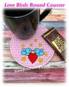 In The Hoop Love Birds Coaster Embroidery Machine Design