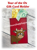 In The Hoop Bull Ox Gift Card Holder Embroidery Machine Design