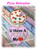 In The Hoop Pizza  Valentine Ornament Embroidery Machine Design