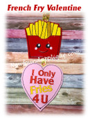 In The Hoopn French Fry Valentine Ornament Embroidery Machine Design