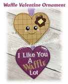 In The Hoop Waffle Valentine Ornament Embroidery Machine Design