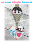 NFA Ice Cream Valentine Ornament Embroidery Machine Design
