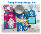 In The Hoop Funny Bunny Embroidery Machine Design Set