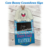 In The Hoop Cute Bunny Countdown To Easter Sign Embroidery Machine Design