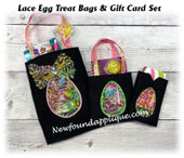 In The Hoop Lace Egg Treat Bags and Gift Card Holder Embroidery Machine Design Set