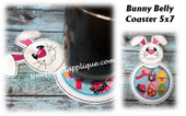 In The Hoop Bunny Belly Coaster Machine Embroidery Design