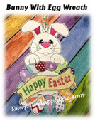 In The Hoop Bunny with Egg Wreath Embroidery Machine Design