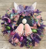 In The Hoop Bunny Wreath Jean Bum Embroidery Machine Design Set