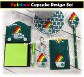 In The Hoop Rainbow Cupcake w Clover Embroidery Machine Design Set