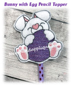 In The Hoop Easter Bunny with Egg Pencil Topper Embroidery Machine Design