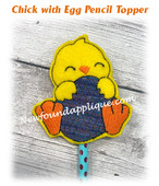 In The Hoop Chick with Egg Pencil Topper Embroidery Machine Design