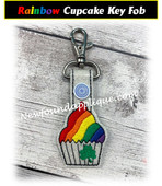 In The Hoop Rainbow Cupcake Key Fob Embroidery Machine Design