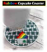 IN The Hoop Rainbow Cupcake Coaster Embroidery Machine Design