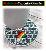 IN The Hoop Rainbow Cupcake Coaster Embroidery Machine Design