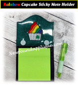 In The Hoop Rainbow Cupcake Sticky Note Holder Embroidery Machine Design