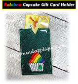 In The Hoop Rainbow Cupcake Gift Card Holder Embroidery Machine Design