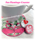In The Hoop Flamingo Coaster Embroidery Machine Design
