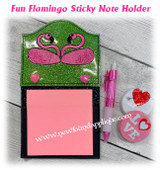 In The Hoop Flamingo Sticky Note Holder Embroidery Machine Design