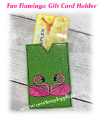 In The Hoop Flamingo Gift Card Holder Embroidery Machine Design