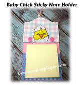 In The Hoop Baby Chick Sticky Note Holder Embroidery Machine Design