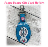 In The Hoop Funny Bunny Key Fob Embroidery Machine Design