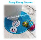 In the Hoop Funny Bunny Coaster Embroidery Machine Design