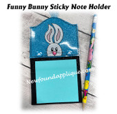 In The Hoop Funny Bunny Sticky Note Holder Embroidery Machine Design