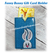 In The Hoop Funny Bunny Gift Card Holder Embroidery Machine Design