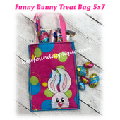 In The Hoop Funny Bunny Treat Bag Embroidery Machine Design