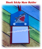 In the hoop Shark Sticky Note Holder Embroidery Machine Design