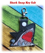 In The Hoop Shark Key Fob Embroidery Machine Design