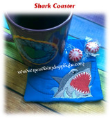 In The Hoop Shark Coaster Embroidery Machine Design