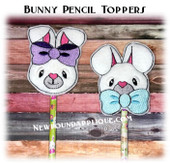 In The Hoop Bunny Head Pencil Toppers Embroidery Machine Design