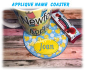In The Hoop Applique Name Coaster Embroidery Machine Design
