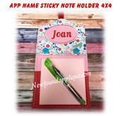 In The Hoop Applique Name Sticky Note Holder 4x4 Embroidery Machine Design