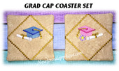 In The Hoop Grad Cap Coaster Embroidery Machine Design Set