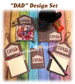 In The Hoop DAD with Heart Embroidery Machine Design Set