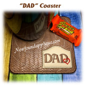 In The Hoop DAD with Heart Coaster Embroidery Machine Design
