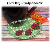 In The Hoop Lady Bug Family Coaster Embroidery Machine Design