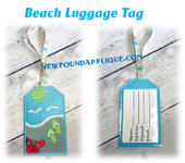 In The Hoop Beach Luggage Tag Embroidery Machine Design